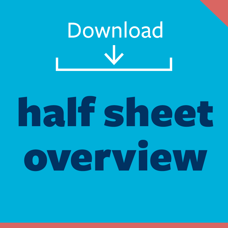 graphic button: download half sheet overview