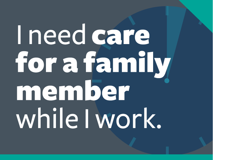 "word graphic: ""i need care for a family member while i work."""