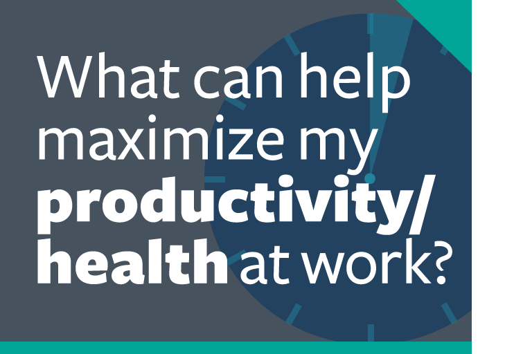 "word graphic: ""how can i maximize my productivity/health at work?"""