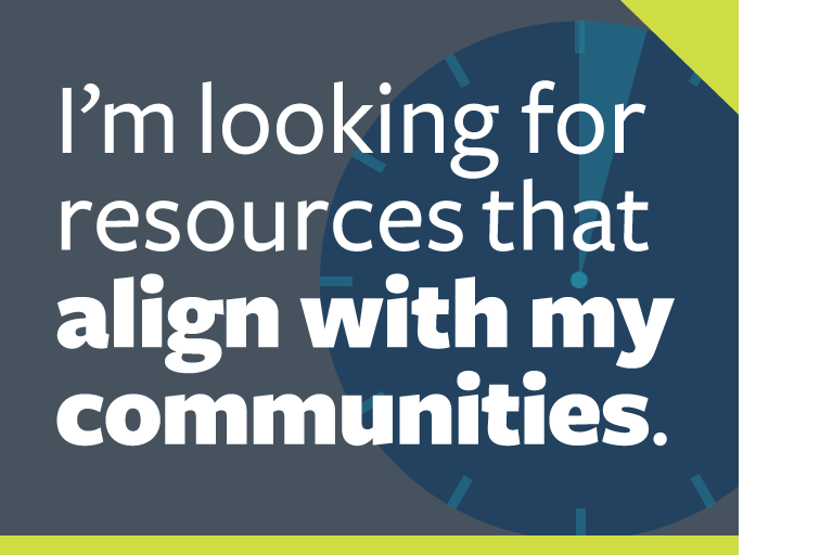 "word graphic: ""i'm looking for resources that align with my communities."""
