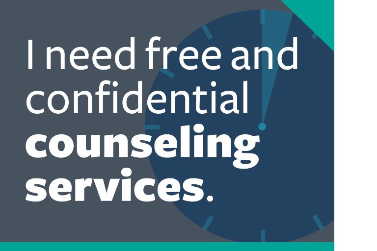"word graphic: ""i need free and confidential counseling services."""