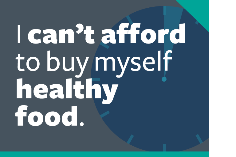 "word graphic: ""i can't afford to buy myself healthy food."""