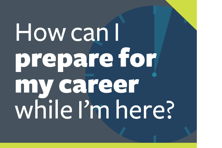 "word graphic: ""how can i prepare for my career while i'm here?"""