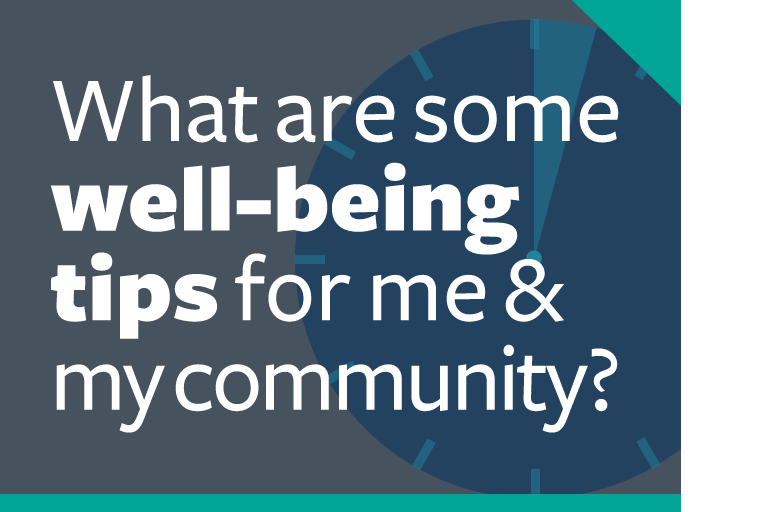 "word graphic: ""what are some well-being tips for me & my community?"""